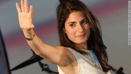 Virginia Raggi, Five Star Movement (M5S) candidate for the mayoral elections in Rome, speaks during her last campaign  meeting on June 17, 2016  at Ostia Lido, Rome's seashore, before the second round of the election.   Voters in the Italian capital return to the polls on June 19, 2016 for the second round of the mayoral elections opposing candidates Virginia Raggi, Five Star Movement (M5S) and Democratic Party (PD) Roberto Giachetti. / AFP / ANDREAS SOLARO        (Photo credit should read ANDREAS SOLARO/AFP/Getty Images)