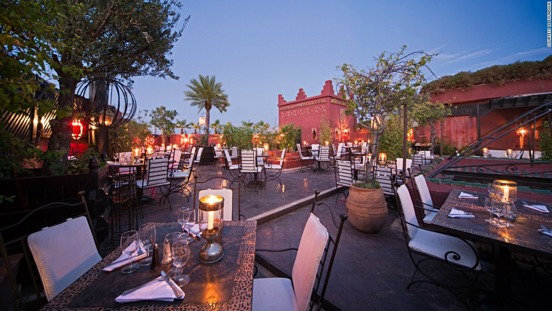 For a romantic candlelit dinner in Marrakech, it's tough to beat Le Foundouk. Guests are led to the rooftop restaurant by lantern-bearing staff.