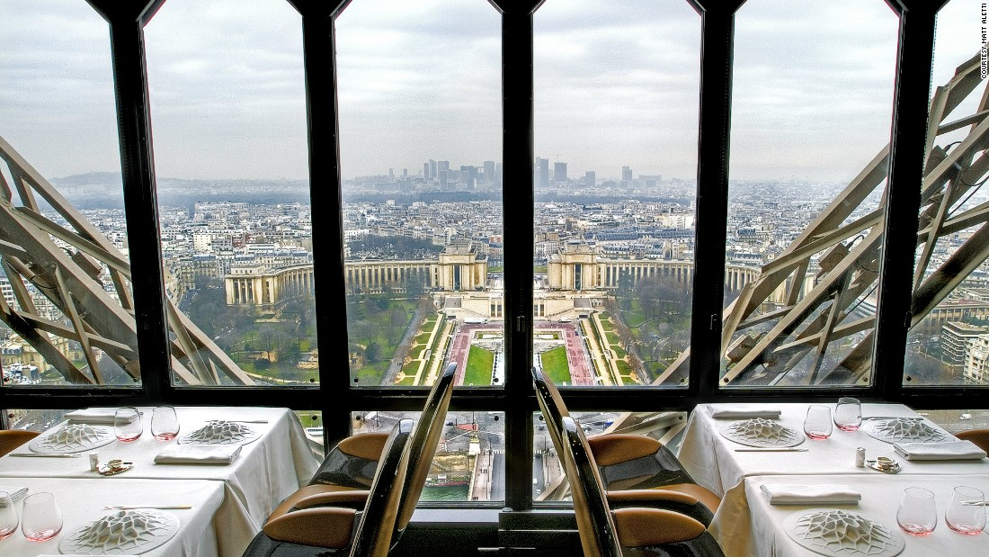 The Eiffel Tower's Le Joules Verne restaurant is helmed by Michelin star chef Alain Ducasse. The five-course experience menu comes recommended.