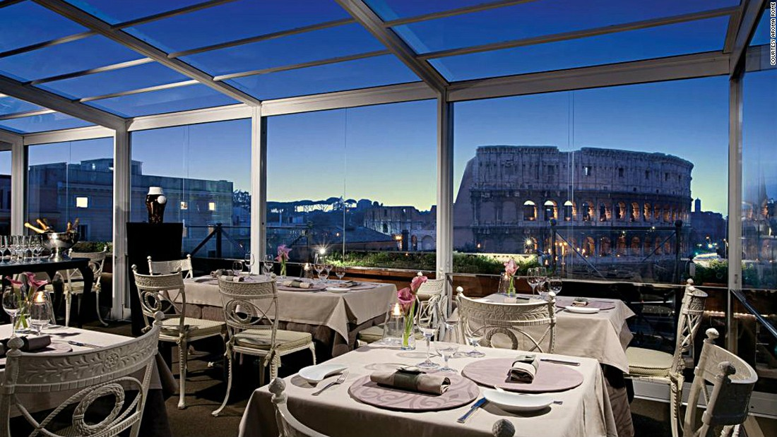 Aroma's huge picture windows help diners to enjoy the views of both the Colosseum and Emperor Nero's Gardens.