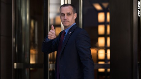 NEW YORK, NY - JUNE 9: Corey Lewandowski, campaign manager for Donald Trump, gives the thumbs up as he leaves the Four Seasons Hotel after a meeting with Trump and Republican donors, June 9, 2016 in New York City. Trump previously stated he planned to raise one billion dollars, but has since pulled back on his fundraising goal. (Photo by Drew Angerer/Getty Images)