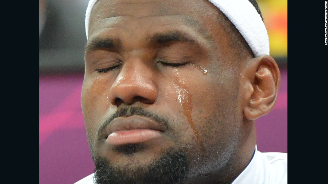 LeBron James shed an emotional tear before a Team USA preliminary round game at the London 2012 Olympics on July 29, 2012.