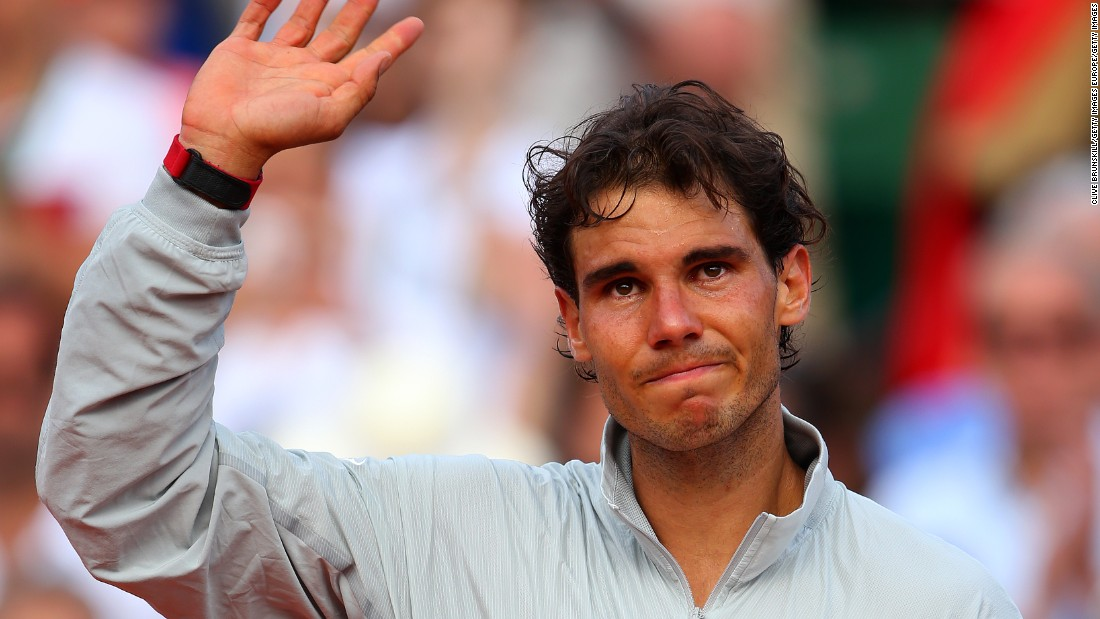 Nadal would also cry as he celebrated victory in his men's singles final match against Novak Djokovic at the 2014 French Open.