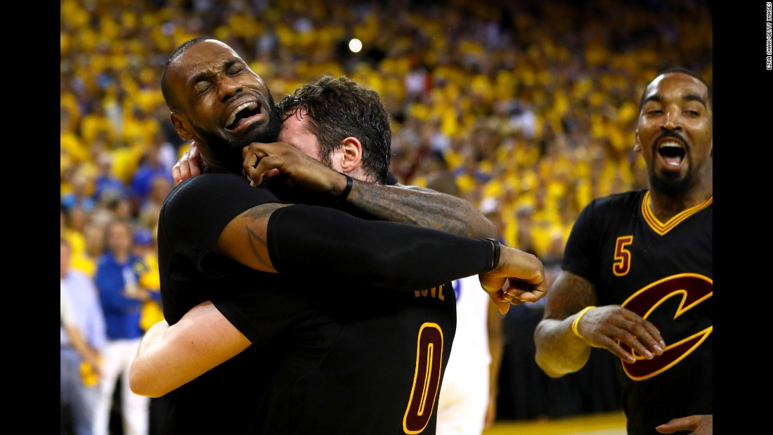 "LeBron James, left, hugs Kevin Love after the Cleveland Cavaliers won <a href=""http://www.cnn.com/2016/06/19/sport/gallery/nba-finals-game-7/index.html"" target=""_blank"">Game 7 of the NBA Finals</a> on Sunday, June 19. Cleveland defeated the Golden State Warriors 93-89 for the first championship in franchise history. It is also the city of Cleveland's <a href=""http://www.cnn.com/2016/06/20/sport/gallery/cities-longest-championship-droughts/index.html"" target=""_blank"">first major sports title since 1964.</a>"