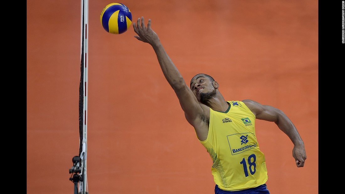 Lucarelli, a Brazilian volleyball player, competes against Argentina during a World League match in Rio de Janeiro on Friday, June 17.