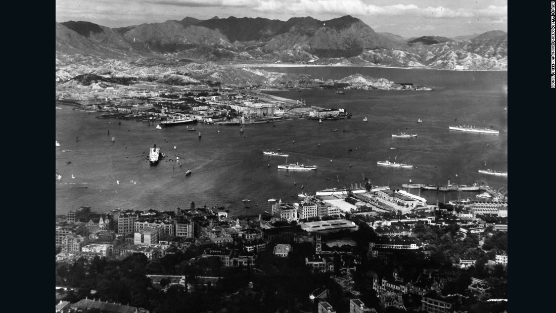 A view from Victoria Peak overlooks the lower terraces of Hong Kong and the city's famous harbor in the early 1920s.