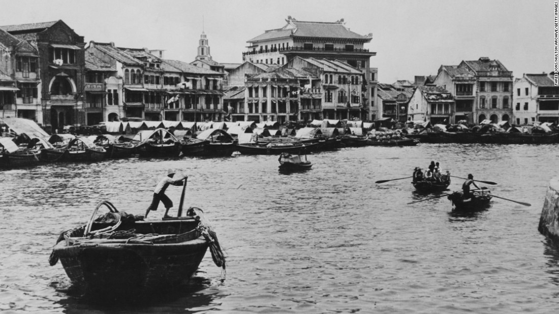 A view of Raffles Quay, Singapore harbour, in the mid-1950s.