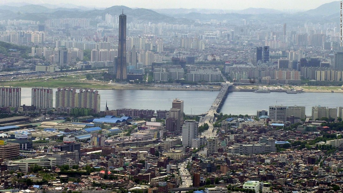 A bird's eye view of Seoul's Han river and its surrounds, taken in 2001.