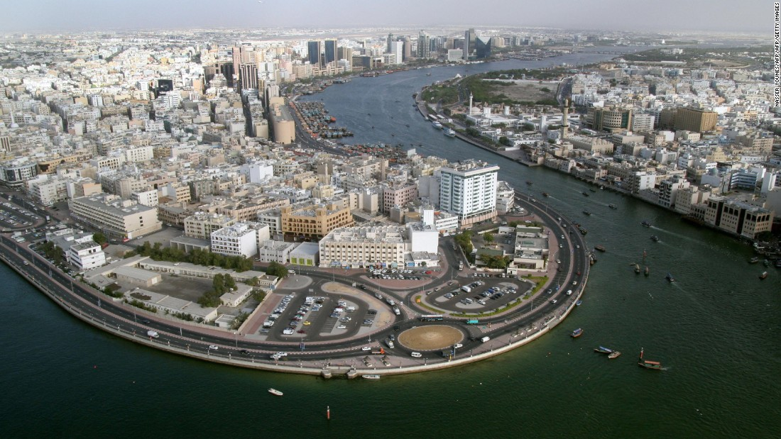 A general view shows the Dubai Creek on April 5, 2005. A huge construction drive was underway in the city at the time, which was designed to consolidate the status of this Gulf emirate.