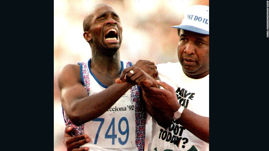 Crying has been a natural reaction for Olympic runners who fall to injury. Derek Redmond (L) of Great Britain limped to the finish line with the help of his father at the 1992 Olympics in Barcelona, Spain after suffering a hamstring injury during a men's 400-meter run.