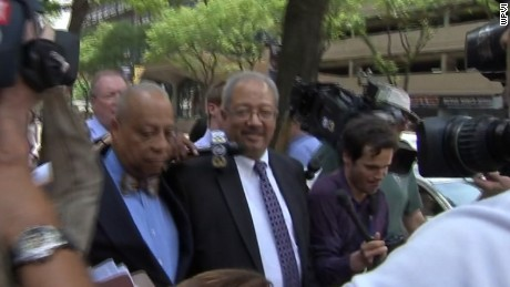 Pennsylvania congressman Chaka Fattah exits a Philadelphia courthouse after being convicted in a racketeering case.