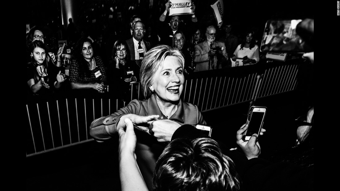 Hillary Clinton arrives at a fundraiser in Des Moines in October.