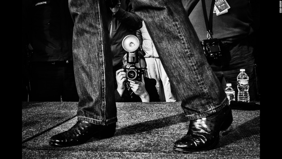 A photographer snaps a shot of U.S. Sen. Ted Cruz during a rally in Hudson, New Hampshire, in January.