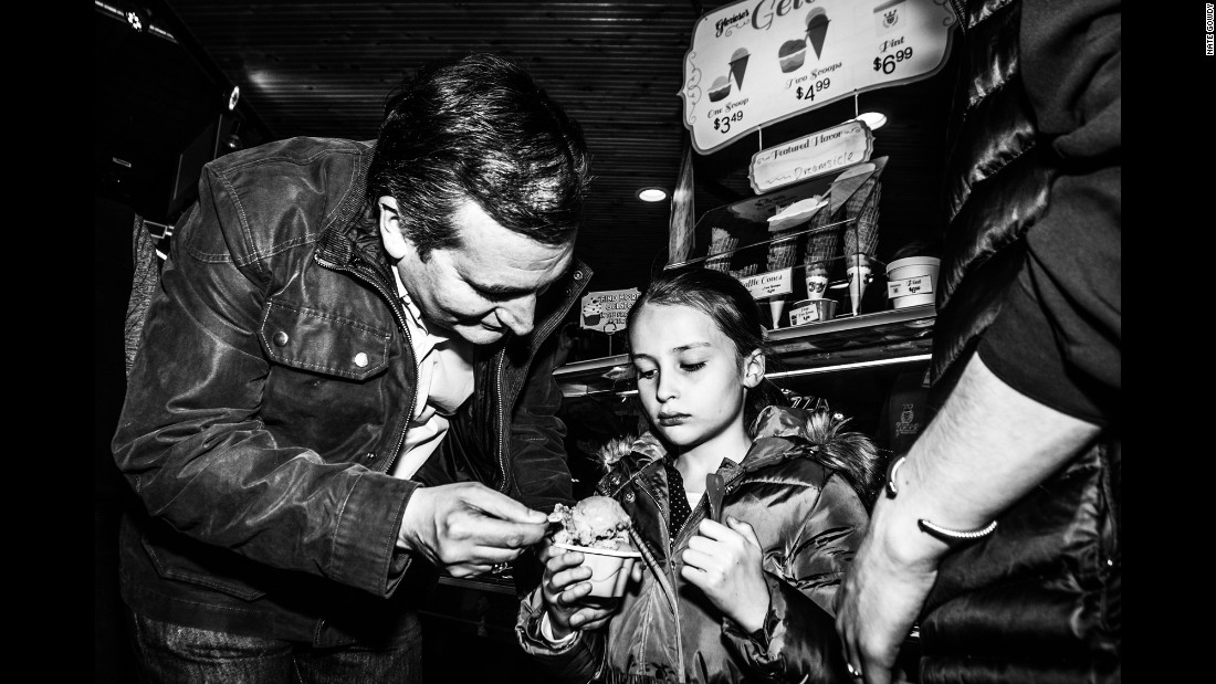 Cruz helps himself to a taste of his daughter's gelato in April. The candidate was campaigning in Milwaukee.