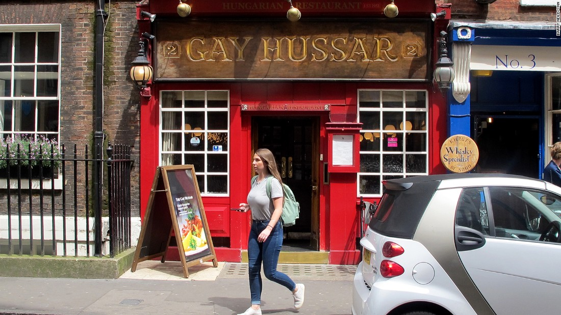 "The wood-paneled <a href=""http://gayhussar.co.uk/"" target=""_blank"">Gay Hussar</a> has been a fixture of London's Soho for decades, serving traditional Hungarian cuisine to a clientele that often includes journalists and politicians."