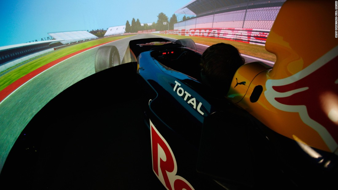 "Wraparound screens enclose the drivers in a virtual world. ""It needs more mental focus than an F1 car,"" Gasly explains."