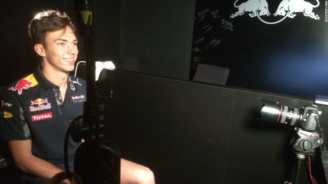 """I spend around 30 days in the simulator a year,"" Gasly explains to CNN's The Circuit on a visit to the Red Bull factory in Milton Keynes, England."
