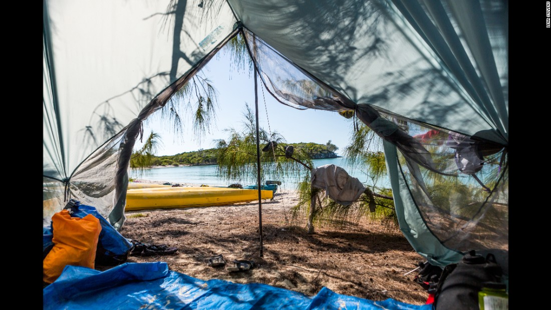 At Big Farmer's Cay, paddlers are able to pitch their tents and enjoy the luxury of having a spectacular beach and view all to themselves.