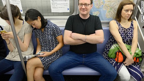 Mind the gap: Legs-apart etiquette is an age-old problem.
