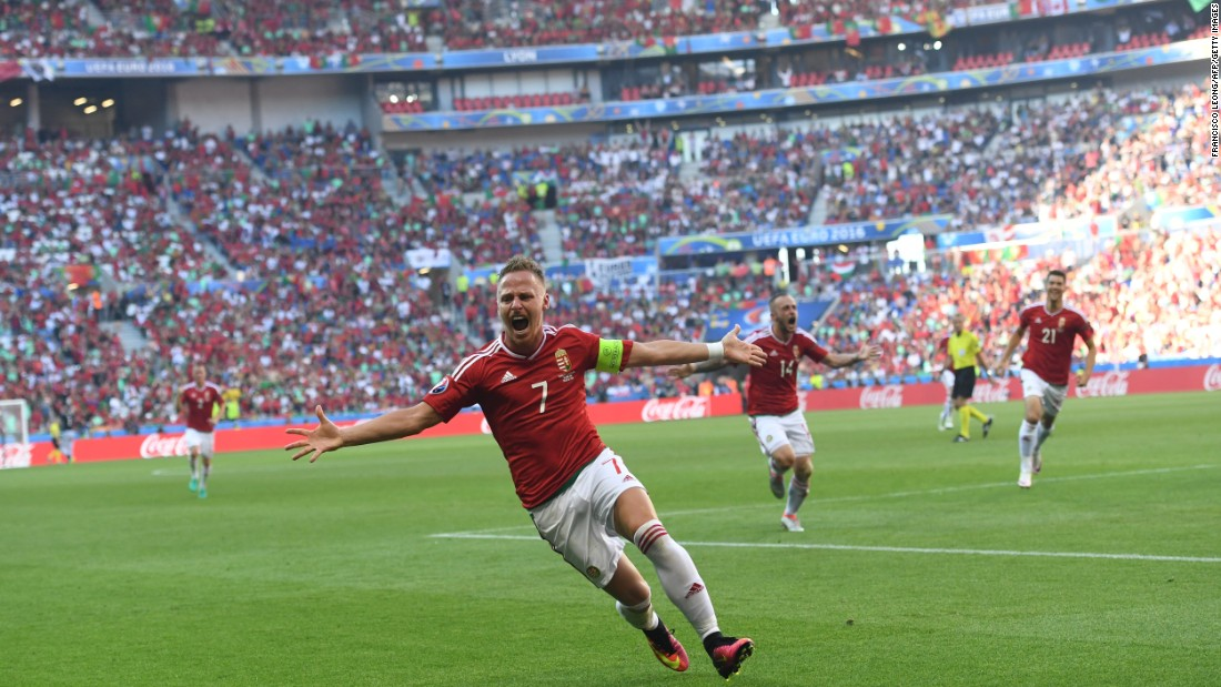 Hungarian midfielder Balazs Dzsudzsak celebrates a goal against Portugal. He scored twice in what was a thrilling 3-3 draw. Both teams advanced to the round of 16, but Hungary advanced as group winners.