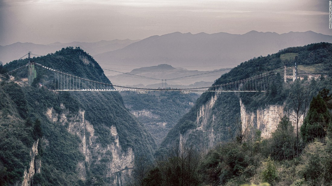 "The Zhangjiajie Grand Canyon Glass Bridge stretches across two hills and is 300 meters above ground. It has a <a href=""http://edition.cnn.com/travel/article/china-zhangjiajie-glass-bridge-closed/index.html"" target=""_blank"">glass bottom</a>."
