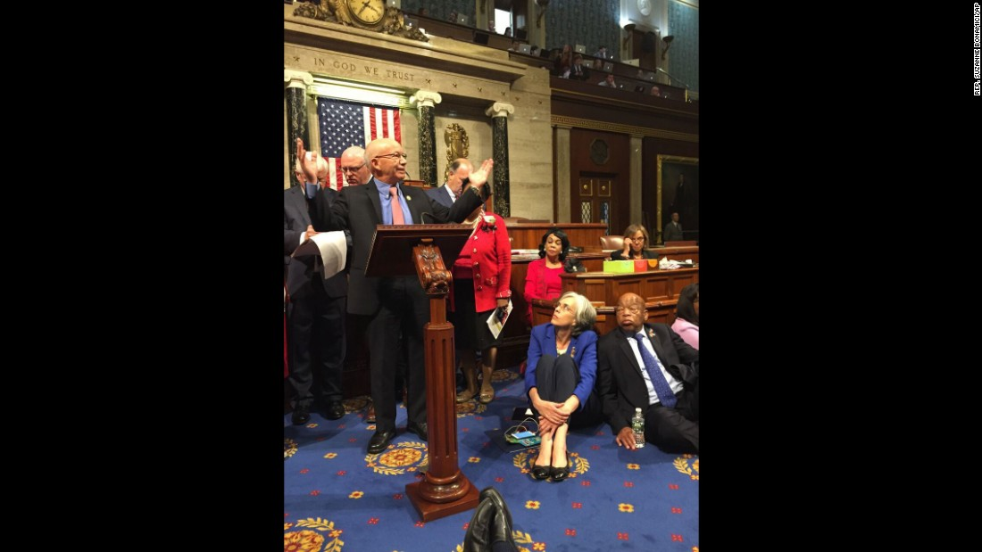 Reps. Peter DeFazio, left, Katherine Clark and John Lewis continue the sit-in in a photo provided by Rep. Suzanne Bonamici.