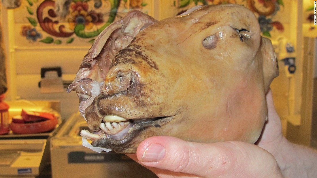 A Western Norwegian Christmas treat, smalahove is a whole sheep's head. To prepare, burn off the wool and skin, remove the brain and salt the head. Servings are half a head each, so perfect for couples.