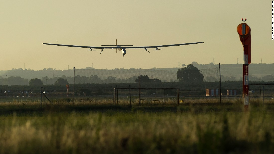 Solar Impulse 2 aircraft lands at Sevilla airport on June 23, 2016, after a 71-hour journey from New York powered only by sunlight.