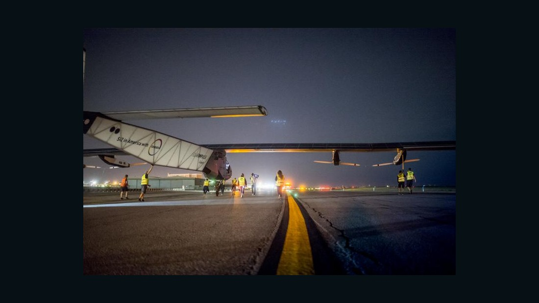 Solar Impulse 2 sits on the runway at JFK international airport prior to departing to cross the Atlantic on June 20, 2016.