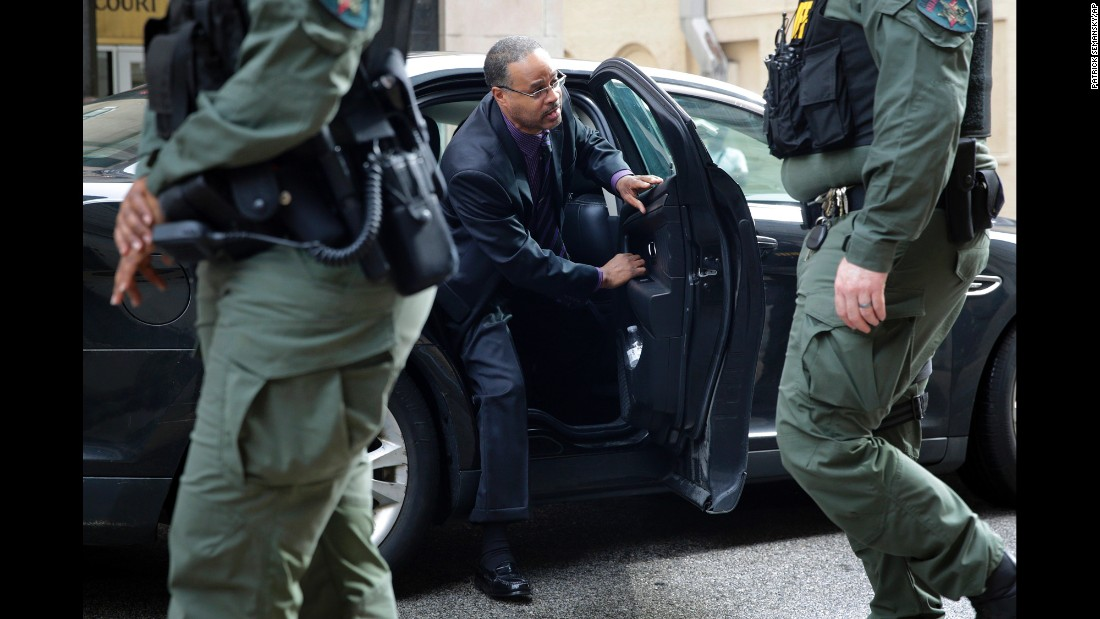 "Caesar Goodson, one of the six police officers charged in the Freddie Gray case, arrives at a courthouse in Baltimore on Thursday, June 23. Goodson, who drove the police van in which Gray was fatally injured last year, <a href=""http://www.cnn.com/2016/06/23/us/baltimore-goodson-verdict-freddie-gray/index.html"" target=""_blank"">was found not guilty</a> on all charges."