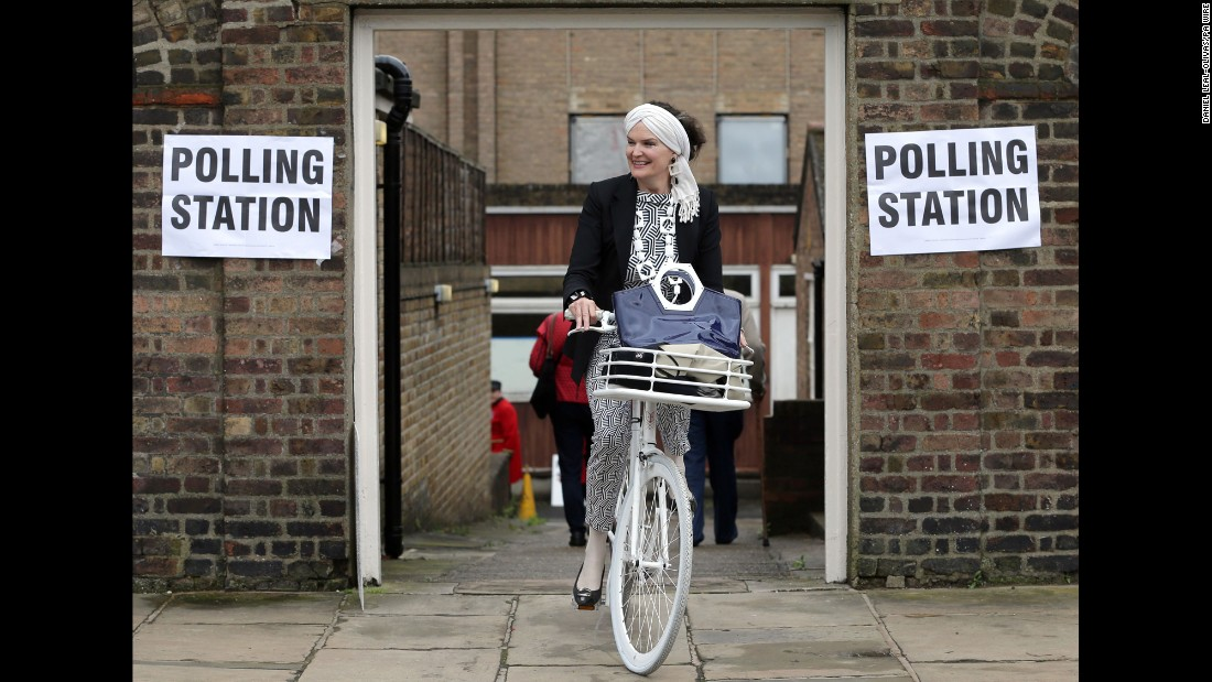 A woman leaves a polling station in London on Thursday, June 23. Voters were deciding whether the United Kingdom should leave the European Union.