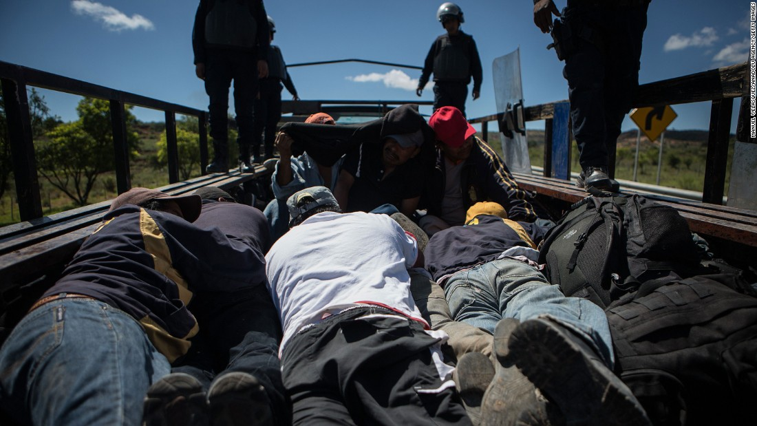 "Police detain protesters in Nochixtlan, Mexico, during <a href=""http://www.cnn.com/2016/06/20/americas/oaxaca-mexico-clashes/"" target=""_blank"">clashes with striking teachers</a> on Sunday, June 19. Eight people died after protests turned violent, authorities said. The clashes also left 53 civilians and 55 police officers injured, according to the Oaxaca state government. Teachers across Mexico have been protesting national education reforms that would change the way they're evaluated. The latest wave of protests picked up steam after authorities arrested several leaders of a division of the national teachers union."