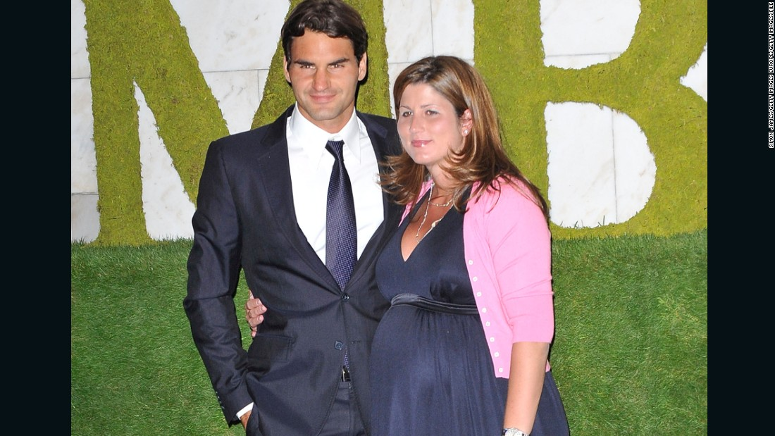 Federer has four children -- two sets of twins -- with wife Mirka, pictured pregnant in 2009 after the Swiss player won Wimbledon for the sixth time.