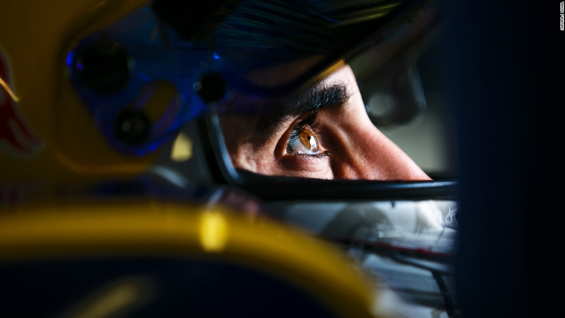 Formula E title contender Sebastien Buemi captured in a moment of concentration before heading out on track.