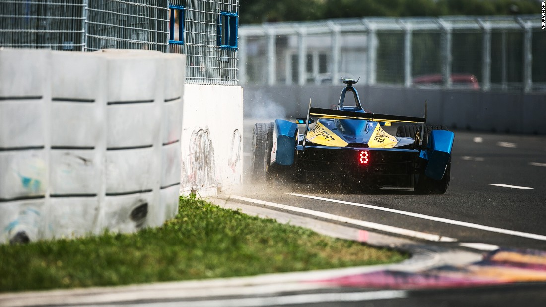 A Renault e.Dams car runs wide, spraying up gravel and dust at the Beijing ePrix. The Formula E season has seen teams compete across four continents with the final weekend being hosted by London's Battersea Park on July 2/3.