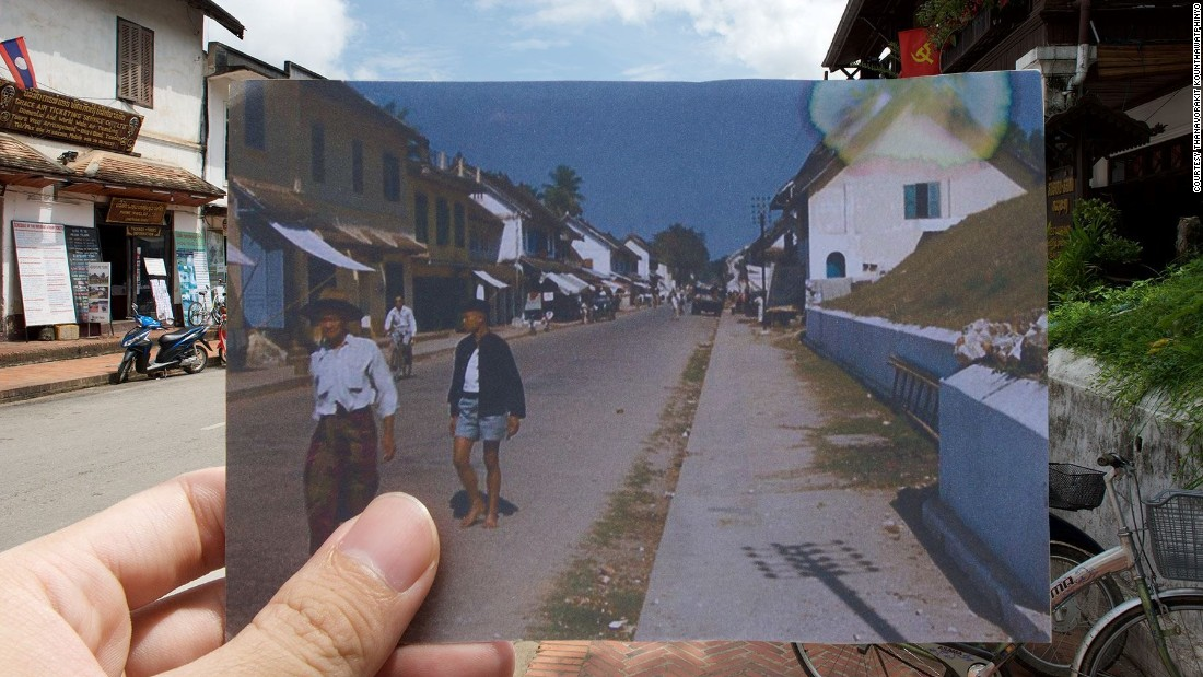 "Nin also tried to create similar images of his home town of  Luang Prabang. ""I couldn't manage to align the past photo properly due to some technical issues,"" he says."