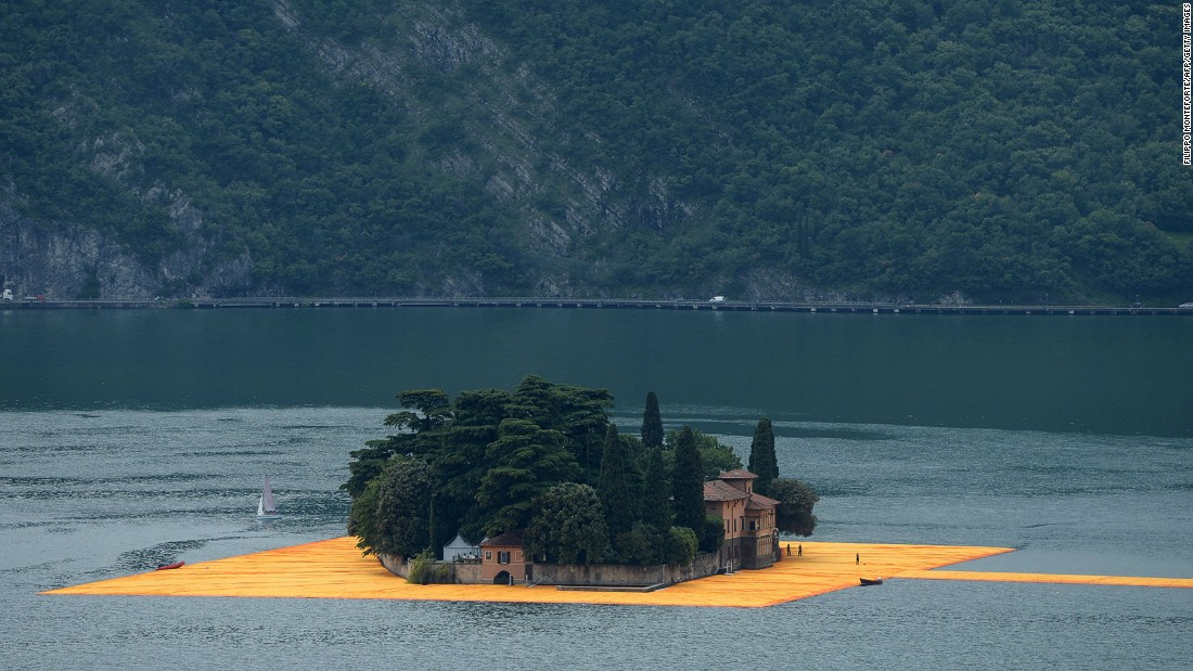 Visitors can walk on the piers from the town Sulzano on the mainland to the islands Monte Isola and San Paolo -- a tiny island with only one house which is framed by the floating docks.