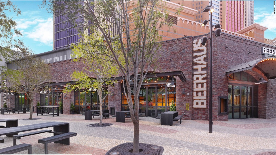 The brand-new Beerhaus beer garden is located at The Park, a recently opened outdoor area on the Las Vegas Strip.