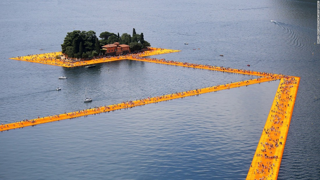 "Constructed over Iseo Lake in northern Italy in June 2016, <a href=""http://edition.cnn.com/2016/06/27/travel/floating-piers-lake-iseo-italy/"">""The Floating Piers""</a> saw 200,000 floating cubes united to create a runway the village of Sulzano to the island of Monte Isola."