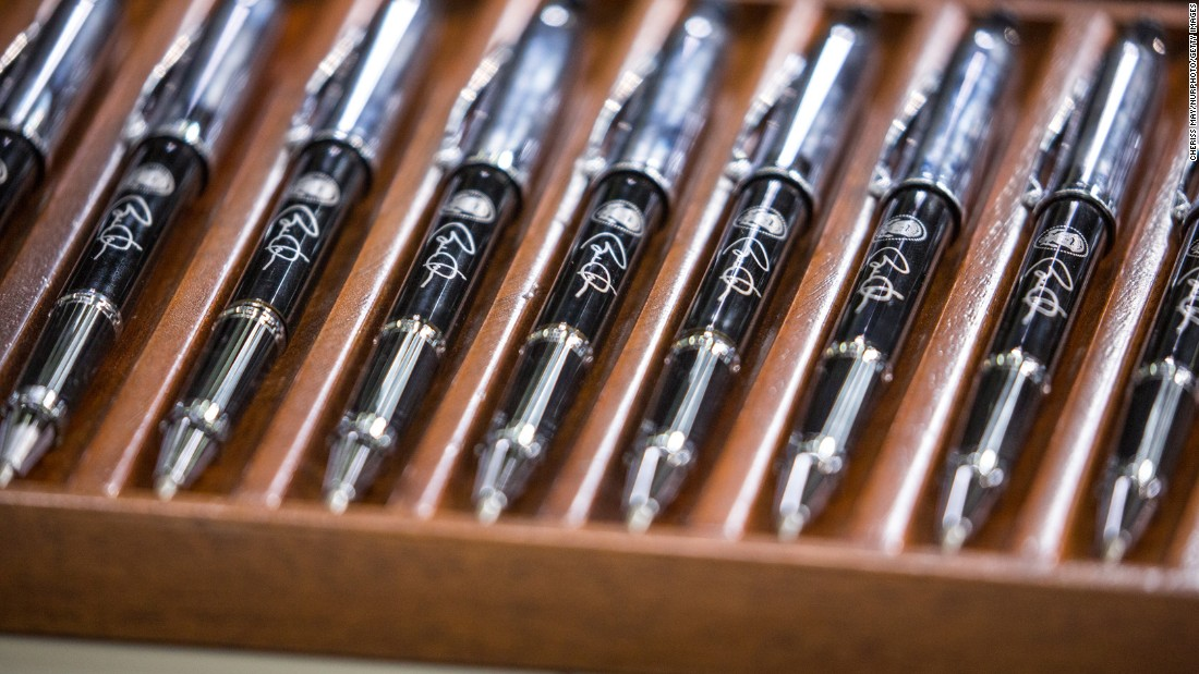 U.S. President Barack Obama used these official pens to sign legislation in Washington on Wednesday, June 22.