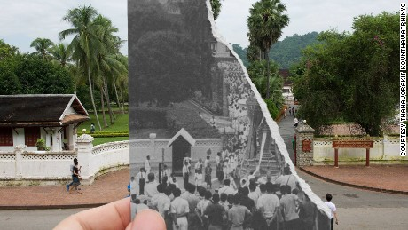 "The entrance of the Royal Palace, Luang Prabang, during the funeral of Laotian King Sisavong Vong in 1959. ""Nowadays we don't have kings anymore, just a lot of tourists,"" says Kounthawatphinyo."
