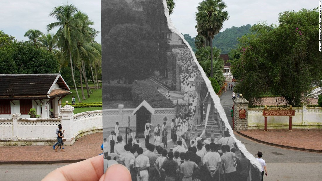"The entrance of the Royal Palace, Luang Prabang, during the funeral of Laotian King Sisavong Vong in 1959. ""Nowadays we don't have kings anymore, just a lot of tourists,"" says Nin."