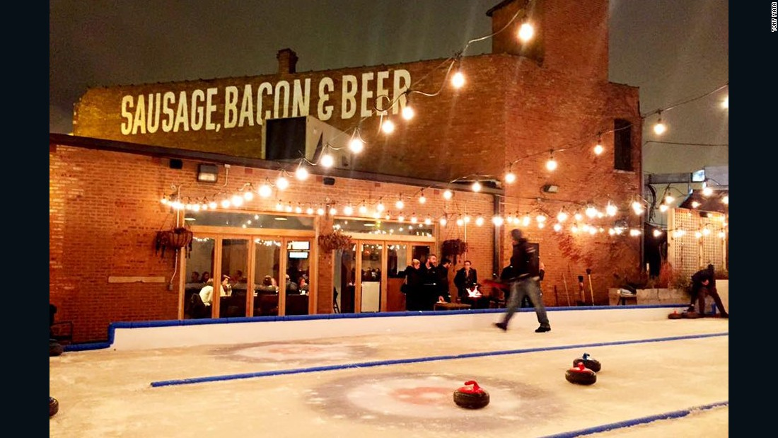 Chicago beer garden Kaiser Tiger draws crowds when the weather warms up in the Windy City, but things remain festive in the winter months with curling and fire pits.