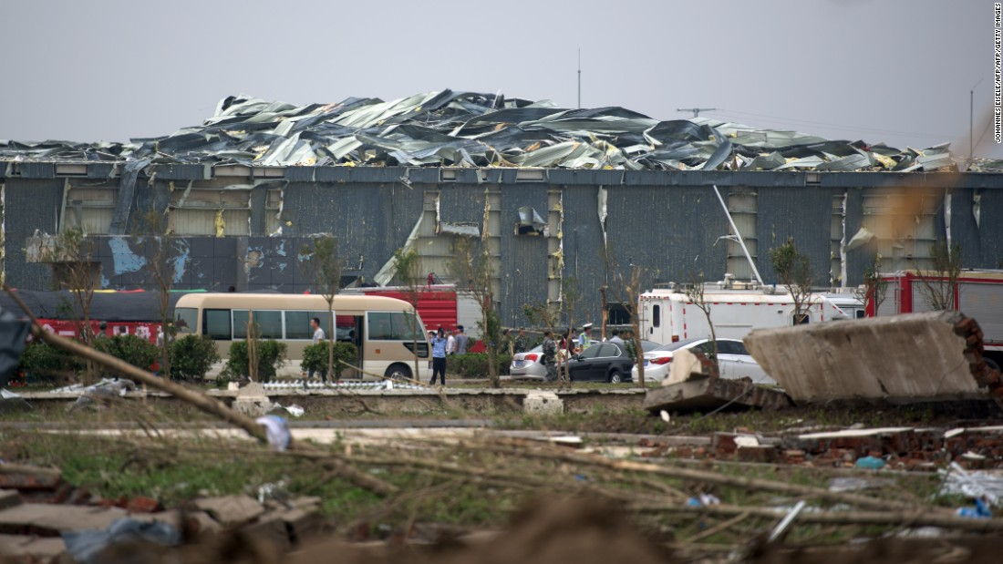 A damaged factory is seen on June 24 in the wake of the severe weather. The area affected around Yancheng, a city of more than 7 million residents, is densely populated with homes, farms and factories.