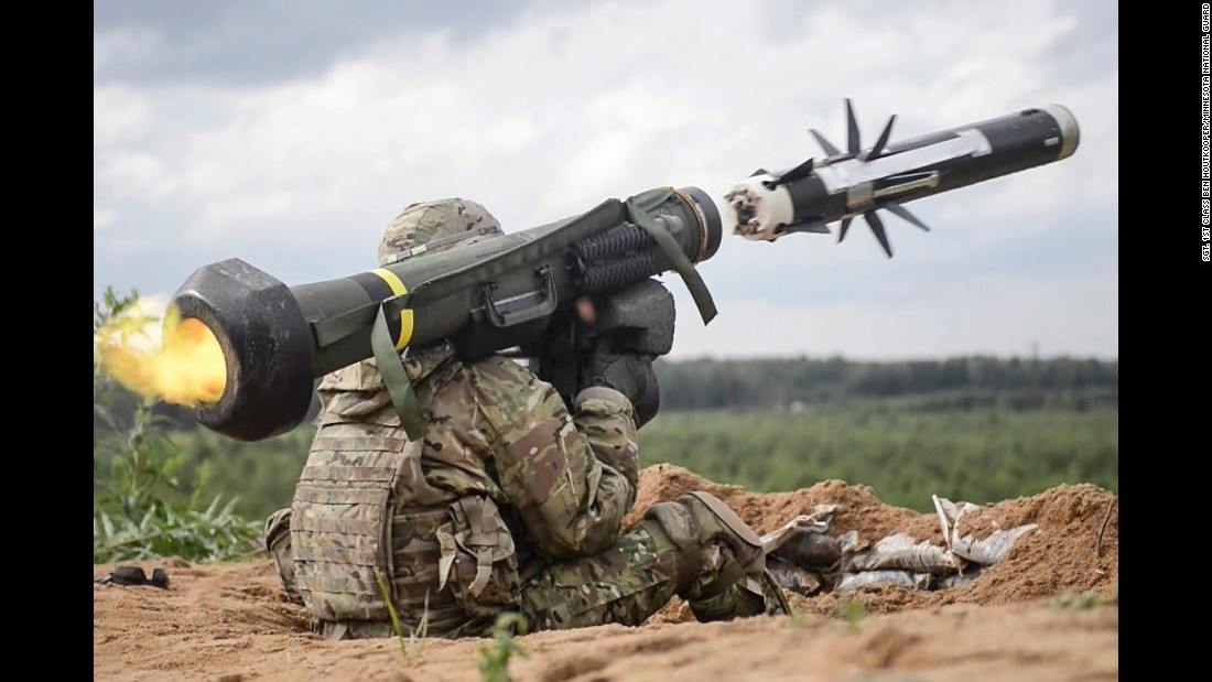 A U.S. Army soldier fires an anti-tank missile during a training exercise near Tapa, Estonia, on Sunday, June 19.