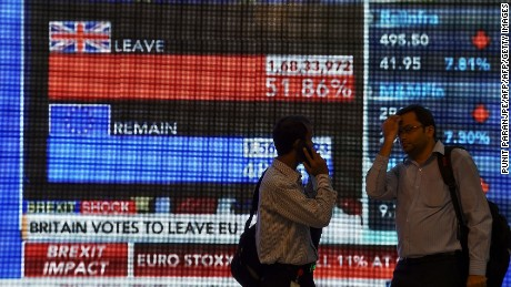 Indian men walk past a large screen showing news of Britain's vote to exit the European Union in Mumbai on June 24, 2016.  The pound collapsed to a 31-year low and there was pandemonium on currency, equity and oil markets on June 24 as Britain voted to leave the European Union, fuelling a wave of global uncertainty. Sterling crashed 10 percent to $1.3229 at one point, its weakest level since 1985, while the greenback itself slumped below 100 yen for the first time in two-and-a-half years as traders fled to safety.  / AFP / PUNIT PARANJPE        (Photo credit should read PUNIT PARANJPE/AFP/Getty Images)