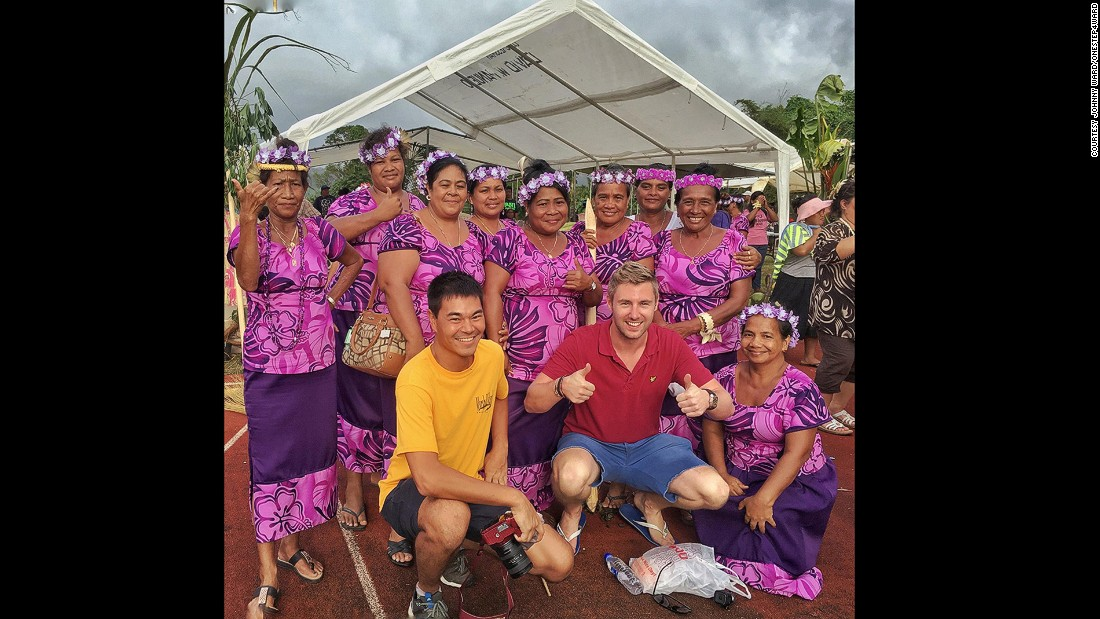 Ward celebrates International Women's Day with a fellow travel blogger in Micronesia.