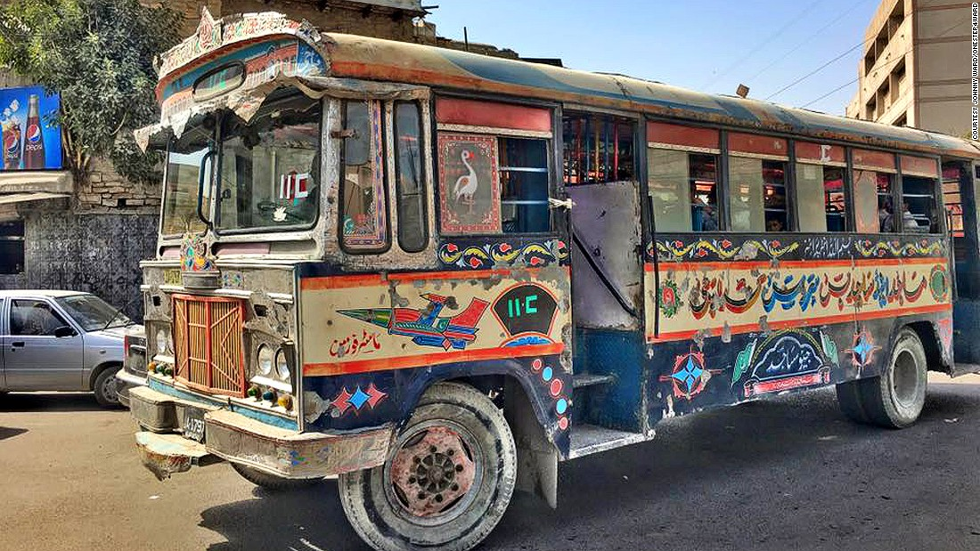 """When I say I'm maximizing my life, I'm not drinking Long Island iced teas in the Maldives, you know. I'm maximizing my experiences, and I go to bed thinking well that was a cool week, and next week's going to be cool too.""  This is a picture of a public bus Ward took while in Pakistan."