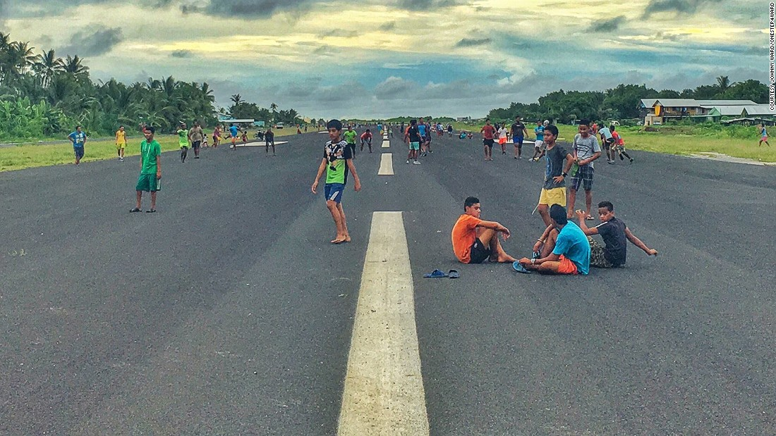 The Irish blogger captured this picture of Funafuti's international airport on the tiny Pacific island nation of Tuvalu. When planes aren't landing or taking off, locals use it as an exercise ground.