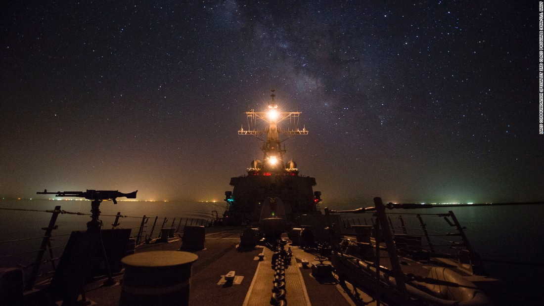 The USS Gonzalez, a guided-missile destroyer, travels through the Suez Canal on Wednesday, June 8. The canal connects the Mediterranean Sea to the Red Sea.